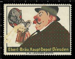 Old Original German Poster Stamp (advertising Cinderella, Reklamemarke) Eberl-bräu Bier Beer Boar Wild Pig Wildschwein - Biere