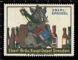 Old Original German Poster Stamp (advertising Cinderella, Reklamemarke) Eberl-bräu Bier Beer Boar Wild Pig Wildschwein - Beers