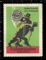 Old Original German Poster Stamp( Cinderella Reklamemarke Werbemarke ) Salamander Lizard Boots Shoes Eidechse Stiefel - Reptiles & Batraciens