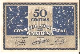 BILLETE DE 50 CTS DEL CONSELL MUNICIPAL DE MANRESA SIN CIRCULAR-UNCIRCULATED DEL AÑO 1937 (BANKNOTE) - Sin Clasificación