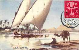 Egypte - Ref A244-dessin Illustrateur -nile Sailing Boats - Pyramides   -carte Bon Etat  - - Egypt