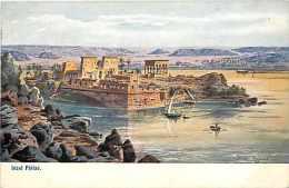 Egypte - Ref A226- Dessin Illustrateur - Insel Philae  -carte Bon Etat   - - Egypt