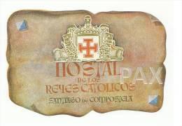 SPAIN ♦ SANTIAGO DE COMPOSTELA ♦ HOSTAL De Los REYES CATOLICOS ♦ ESPAÑA ♦ VINTAGE LUGGAGE LABEL - Etiketten Van Hotels