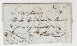 127/SION  1813  Sur Pli Taxe Pour St MAURICE  Departement  Conquis  TB   Ind 16 - Postmark Collection