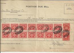 USA RECIBO DE COBRO FALTA DE FRANQUEO DE OHIO BELL TELEPHONE CO 1947 POR 14,32 DÓLARES MAT CLEVELAND OHIO - United States