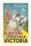 SPAIN ♦ VALENCIA ♦ HOTEL REINA VICTORIA ♦ ESPAÑA ♦ VINTAGE LUGGAGE LABEL ♦ 2 SCANS - Hotel Labels