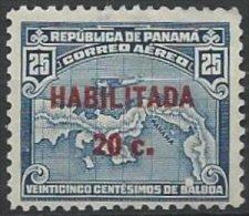PANAMA -20 C. Sur 25 C. Bleu De 1932 Type II Neuf RARE Signé RENON (surcharge De 17 Mm) - Panama