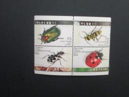 ISRAEL 1994 MINT BEETLES BLOCK - Used Stamps (with Tabs)