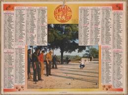 CALENDRIER ALMANAC ' H DES POSTES 1974 CLICHE PETANQUE JEU DE BOULES - Grand Format : 1971-80