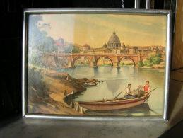 Photo D´aquarelle Barque De Pêcheurs Sous Verre 1105 ROMA E Il Tevere - Miniature