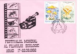 ECOLOGICAL FESTIVAL AT MOVIE,ARAD,COVER FDC,1992, ROMANIA - Cinéma