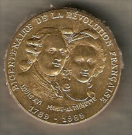 FRENCH REVOLUTION RARE 1789-1989 BICENTENARY  MEDAL:KING LOUIS XVI - QUEEN MARIE ANTOINETTE - Royal / Of Nobility