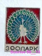 Animals: Bird Peacock - Pavo - Bird Of Juno - Zoo / Old Soviet Badge_035_an2207 - Animals