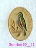 Animals: Bird Bluestart - Luscinia Cyanurus / Soviet Badge _35_an2211 - Animals