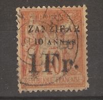 Zanzibar _ 40c Sage  -surchargé 10 Annas 1 Fr. - Gebraucht