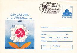 MUSIC,ARTS, VIOLIN ,COVER STATIONERY,OBITERATION CONCORDANTE,1988, ROMANIA - Music