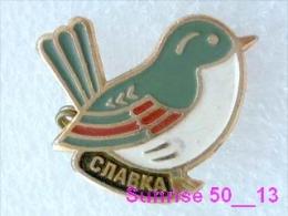 Animals: Bird Featherbed - Warbler - Sylviiadae / Soviet Badge _35_an2229 - Animals