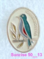 Animals: Bird Bluestart - Luscinia Cyanurus / Soviet Badge _35_an2235 - Animals