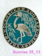Animals: Bird Crane - Crus Zoo / Old Soviet Badge_035_an2243 - Animals