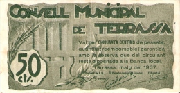 BILLETE DE 50 CTS DEL CONSELL MUNICIPAL DE TERRASSA  (SELLO SECO) DEL AÑO 1937 (BANKNOTE) - [ 2] 1931-1936 : República