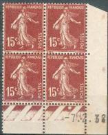 France - 1927 - Coin Daté 7/2/38 - Type Semeuse - 15 C. Brun-lilas Y&T N° 189 ** Neuf  ( Gomme D´origine ) - ....-1929