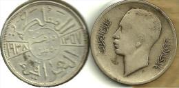 IRAQ 50 FILS ARABIC WRITING FRONT KING HEAD BACK 1357-1938 AG SILVER KM104 VF+ READ DESCRIPTION CAREFULLY !!! - Iraq