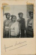 Laos Photo Reelle Collée Sur Carte Postale Charleroi 4 Jeunes Filles En Buste  - Laos