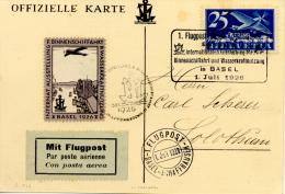 """Premier Vol """" Basel-Schaffhausen """" Vers Solothurm 1926 Vignette Et Marque Cat. SBK Nº 18 II Voir 2 Scan - Poste Aérienne"""