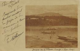 Real Photo Jonques Sur Le Fleuve Rouge Lao Kay Timbrée Yen Bay 1903 BM Type Sage - Vietnam