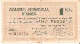 BILLETE DE 1 PTA DEL CONSELL MUNICIPAL D´AMER  DEL AÑO 1937 (BANKNOTE) - Sin Clasificación