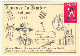 Carte locale - Journ�e du Timbre 1993 - Facteur - AVIGNON (Vaucluse) / Folco de Baroncelli