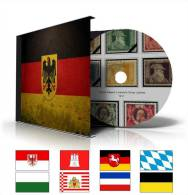 GERMANY STATES STAMP ALBUM PAGES CD 1849-1923 (66 Color Illustrated Pages) - Software