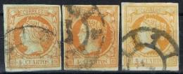 Lote 3 Sellos 4 Cuartos Isabel II 1860, Variedades Color, Num 52, 52a Y 52b º - Usados