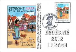 BEDECINE 2012 ILLZACH & TURF : Carte Philatélique FDC + Cachet + Cliché Timbre Personnalisé - Comics