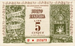 BUONO RENDITA DA LIRE 5 /  COMPAGNIA ANONIMA D' ASSICURAZIONI DI TORINO - [ 2] 1946-… : Repubblica