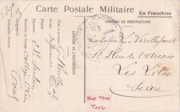 1915 Cachet HOPITAL TEMPORAIRE TOUL / Meurthe Et Moselle Sur CP En Franchise FM - Poststempel (Briefe)