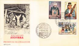 1972 ANDORRA ESPAÑOLA TIPOS POPULARES FDC - Storia Postale