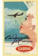 BELGIUM ♦ Caravelle Jet Continental SABENA ♦ AVIATION  ♦ BELGIQUE ♦ VINTAGE LUGGAGE LAB - Étiquettes à Bagages