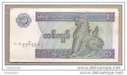 Myanmar - Banconota Circolata Da 1 Kyat - Myanmar