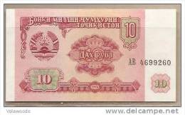 Tagikistan - Banconota Non Ciroclata FdS Da 10 Rubli P-3a - 1994 - Tagikistan