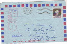 1977 Air Mail CANAL ZONE AIR MAIL Lettersheet AEROGRAMME To GB, Stamps, Meter, Cover - Kanalzone