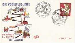 ALLEMAGNE DEUTSCHLAND PONT BRIDGE BRUCKE OISEAU MIGRATOIRE VOGELFLUGLINIE PUTTGARDEN 2449  1963 - Vögel