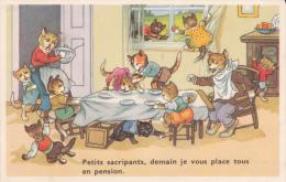 CPSM CHAT CHATS HABILLES PETITS SACRIPANTS DEMAIN JE VOUS PLACE EN PENSION TABLE REPAS BETISES - Gatti