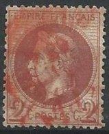 FRANCE - 2 C. Oblitéré En Rouge - 1863-1870 Napoléon III Lauré