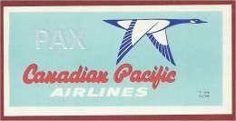 CANADA ♦ 6/59 ♦ CANADIAN PACIFIC AIRLINES ♦ VINTAGE LUGGAGE LABEL ♦ 2 SCANS - Étiquettes à Bagages
