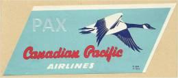 CANADA ♦ 7 / 53 ♦ CANADIAN PACIFIC AIRLINES ♦ VINTAGE LUGGAGE LABEL ♦ 2 SCANS - Étiquettes à Bagages