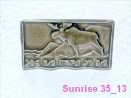 Animals: Elk - Moose - Alces Alces - Moose Deer Giguli Zoo / Old Soviet Badge_035_an2210 - Animals