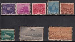 India MNH 1955, 8v Five Year Plan Definitive, Tractor, Dam, Malaria Control Disease, Etc., - Nuevos