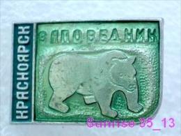 Animals: Bear - Bruin - Baboon - Bearskin Jobber National Park Krasnoyarsk / Old Soviet Badge_035_an2218 - Animals
