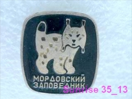 Animals: Lynx- Bobcat - Catamount - Trot National Park Baikal / Old Soviet Badge_035_an2221 - Animals